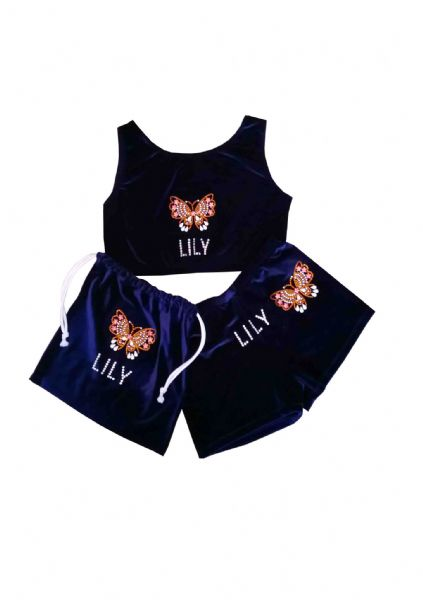 Shorts, Crop Top and Handguard bag with butterfly diamante motif From £39.95